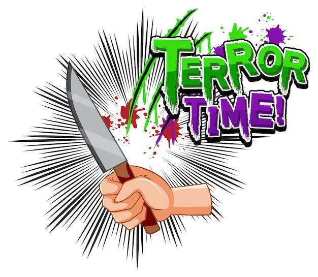 Terror time-tekstontwerp met mes in een hand