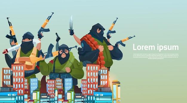 Terrorisme armed terrorist group black mask hold weapon machine gun attack city