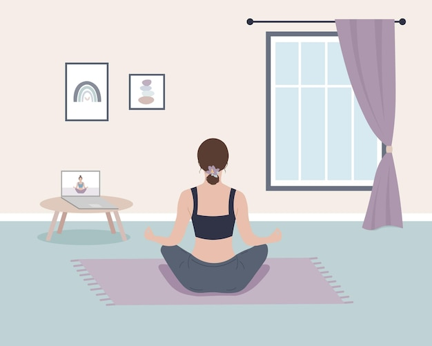 Terug meditatie vrouw thuis workout yoga online praktijk lotushouding