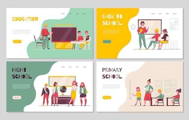 Terug naar het lager middelbaar onderwijs 4 platte horizontale banners met klassikale leraar schoolkinderen