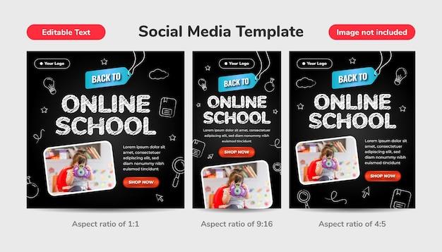 Terug naar online school sociale media sjabloonachtergrond met bewerkbaar teksteffect en pictogramkrijtstijl op zwart bord. 3d potlood illustratie.