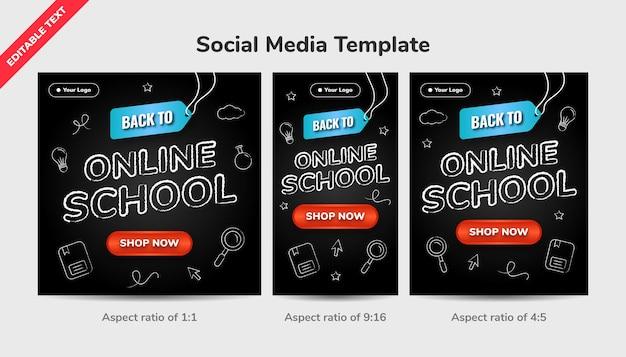 Terug naar online school sociale media sjabloonachtergrond met bewerkbaar teksteffect en pictogramkrijtstijl op zwart bord.