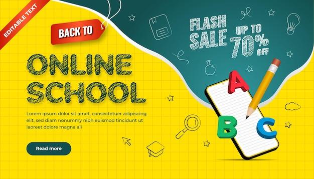 Terug naar online schoolachtergrond. flash sale tot 70 procent korting. ontwerp met pictogram krijt stijl en 3d illustratie.