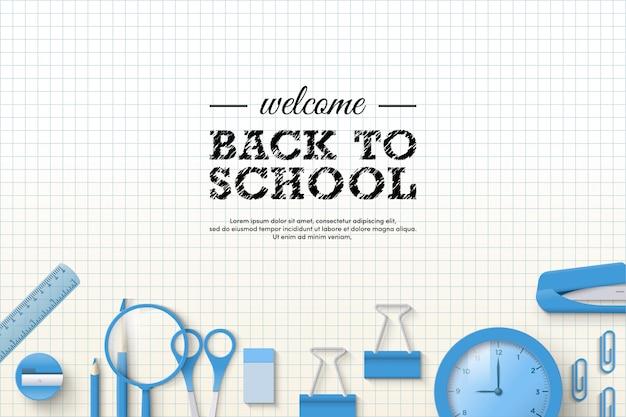 Terug naar school achtergrond met illustraties van papier en briefpapier.