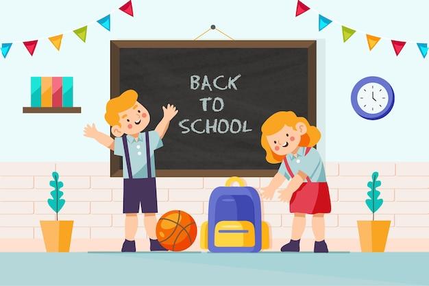 Terug naar school achtergrond met klaslokaal