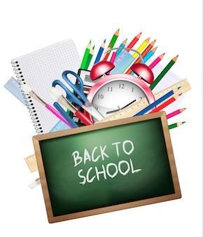 Terug naar school. achtergrond met kleurrijke leveringen. vector