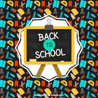 Terug naar school achtergrond met kleurrijke pictogrammen