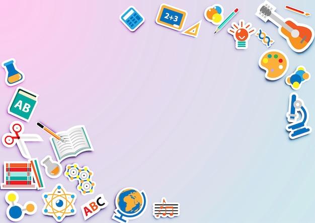 Terug naar school achtergrond met pictogram sticker vector