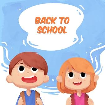 Terug naar school achtergrond met schattige aquarel kinderen karakter