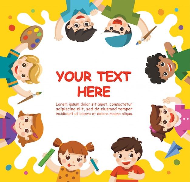Terug naar school. art kinderen. schattige kinderen hebben plezier en zijn klaar om samen te schilderen. sjabloon voor reclamefolder. kinderen kijken met belangstelling op.
