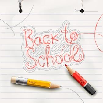 Terug naar school banner doodle achtergrond vectorillustratie