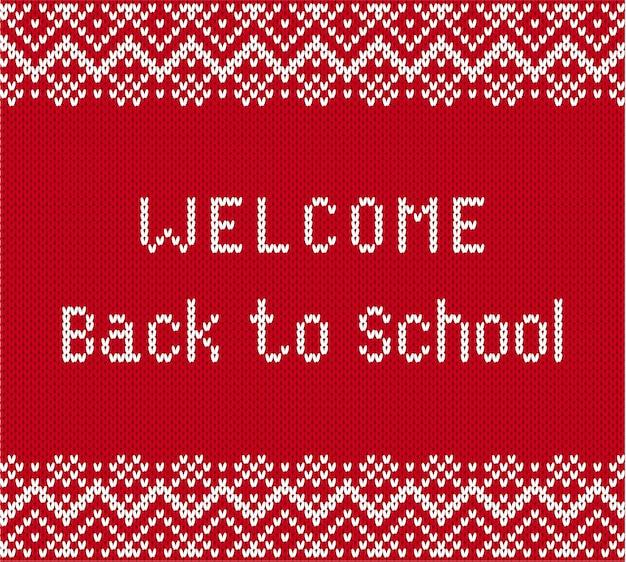 Terug naar school banner in gebreide stijl.