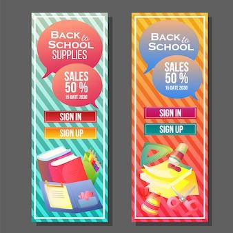 Terug naar school banner kleurrijke sjabloon
