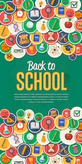 Terug naar school banner met platte vector design