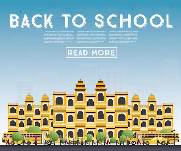 Terug naar school. banner met schoolbus, gebouw en studenten. vectorillustratie.