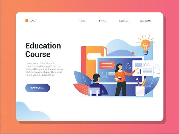 Terug naar school banner met vrouwelijke leraar met student in de klas tijdens pandemie is het goed voor het onderwijs online cursus