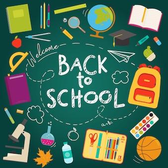 Terug naar school banner platte pictogrammenset op de achtergrond van een schoolbord. illustratie. onderwijs concept