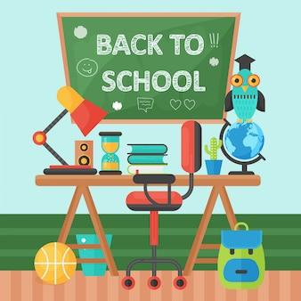 Terug naar school banner schoolbord en leerling tafel