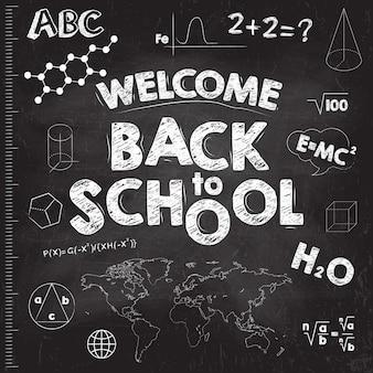 Terug naar school banner. zwarte schoolbestuur met inscripties.