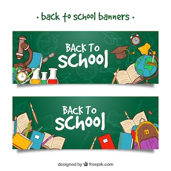 Terug naar school banners met handgetekende schoolbenodigdheden