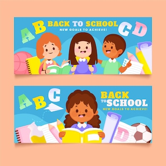Terug naar school banners set met foto