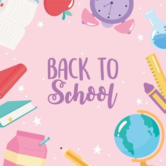 Terug naar school, basisonderwijs cartoon kaart potlood boeken appelfles klasse achtergrond Premium Vector