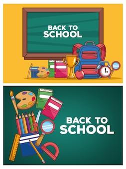 Terug naar school belettering in schoolborden met vaste pictogrammen