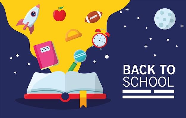 Terug naar school belettering seizoen met boek en benodigdheden stroom