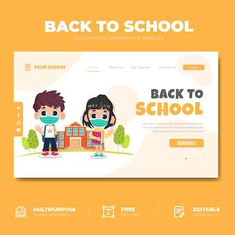 Terug naar school bestemmingspagina concept