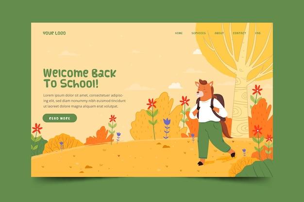 Terug naar school bestemmingspagina met dier
