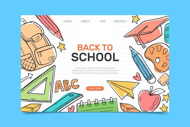 Terug naar school bestemmingspagina met getekende illustraties