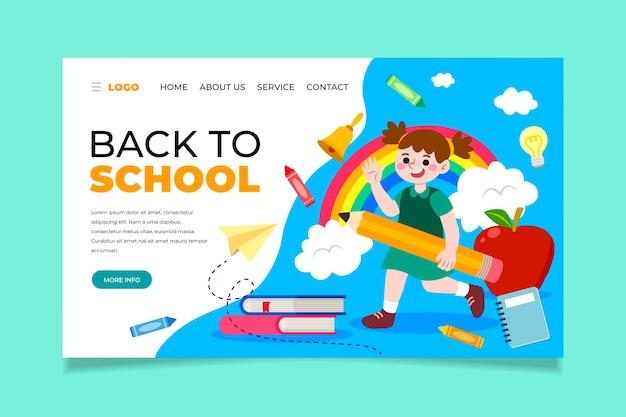 Terug naar school-bestemmingspagina met kind dat een potlood vasthoudt