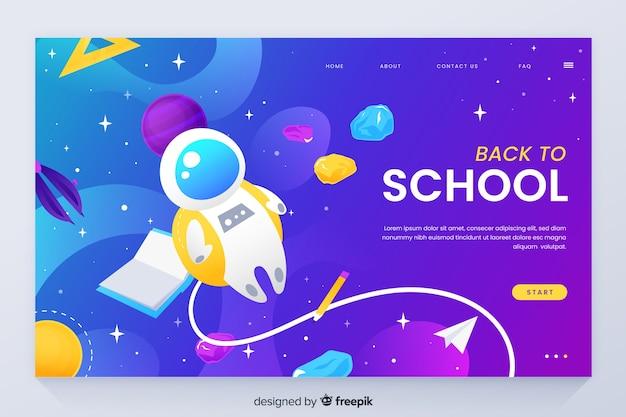 Terug naar school bestemmingspagina met ruimtethema
