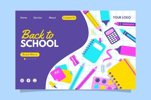 Terug naar school bestemmingspagina ontwerp