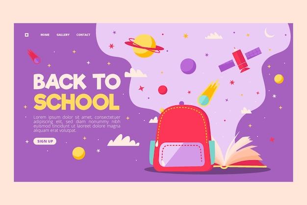 Terug naar school bestemmingspagina sjabloon