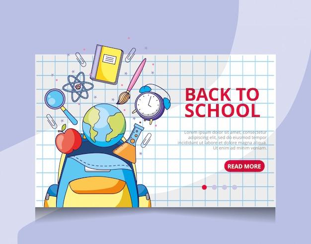 Terug naar school bestemmingspagina vector