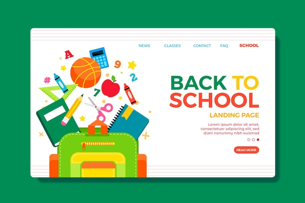 Terug naar school bestemmingspagina websjabloon