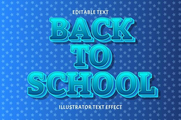 Terug naar school bewerkbaar tekst effect Premium Vector