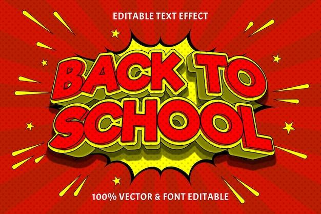 Terug naar school bewerkbare teksteffect reliëf komische stijl