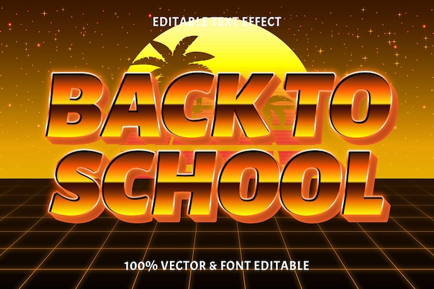 Terug naar school bewerkbare teksteffect retro-stijl