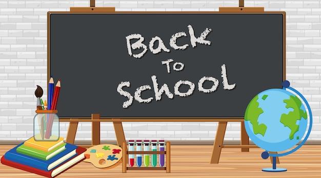 Terug naar school bord met bord en school items