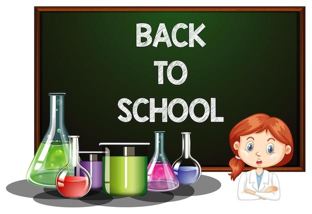Terug naar school bord met meisje in wetenschapsjurk