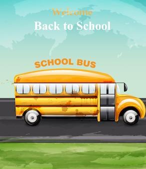Terug naar school bus aquarel kaart