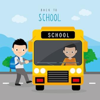 Terug naar school bus road boy student cartoon vector