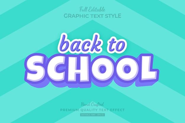 Terug naar school cartoon bewerkbare premium teksteffect lettertypestijl