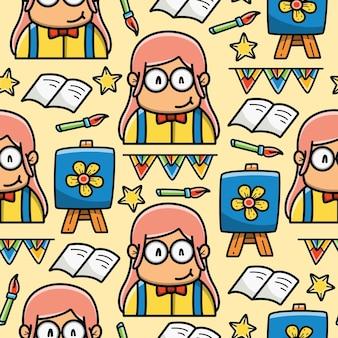 Terug naar school cartoon doodle naadloze patroon ontwerp
