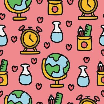 Terug naar school cartoon doodle patroon ontwerp illustratie