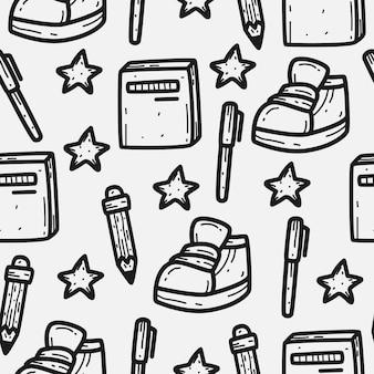 Terug naar school cartoon doodle patroon ontwerp