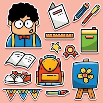 Terug naar school cartoon doodle sticker ontwerp