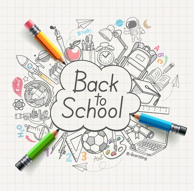 Terug naar school concept doodles
